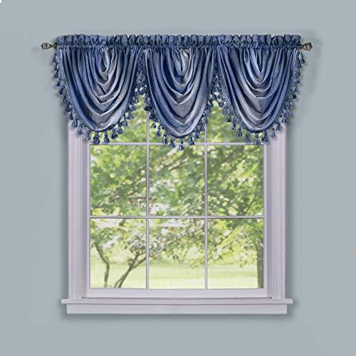 Achim Home Furnishings Ombre Waterfall Window Curtain Valance, 46 x 42, Blue