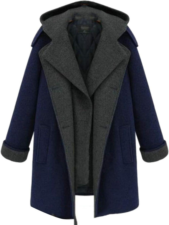 JSY Womens Leisure Thermal Lapel Hoodies Thicken colorblock Long Sleeve Fake Two Winter Wool Blended Coat
