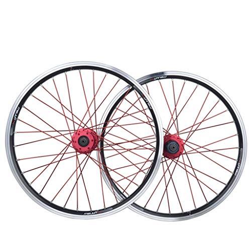 MZPWJD Set di Ruote per Bici Ruota per Bicicletta BMX da 20 Pollici Cerchio in Lega A Doppio Strato Disco V Brake Rilascio Rapido 7 8 9 10 velocità 32H (Color : Black, Size : 20in)