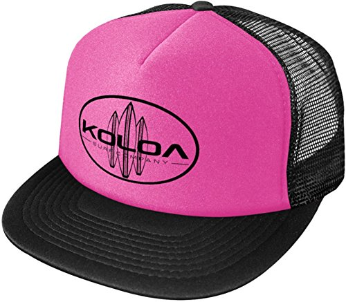 Koloa Surf Classic Surfboards High Profile Poly-Foam Trucker Hat-Black and Pink/b
