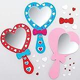 Baker Ross AX740 Kit Specchio Cuore - confezione da 4, Arte e Artigianato per Bambini, Fantasia, Feste, Regalini