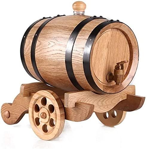 WSZYBAY Decanter Whisky Decanter Decantador de vinos 3L Oak Barrel, Cubo de almacenamiento de vino envejecido de roble de época con dispensador de grifos para vino, espíritus, cerveza y licor Decantad