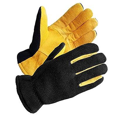 SKYDEER Men's Winter Gloves with Premium Genuine Deerskin Suede Leather and Windproof Polar Fleece (SD5167T/XL, Warm 3M Thinsulate Insulation)