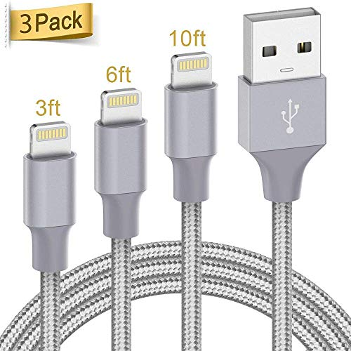 ilikable 3 Pack 1M 2M 3M iPhone Ladekabel [MFi Zertifiziert] Apple Ladekabel, Kompatibilität mit iPhone 11 Xs Max XR X 8 7 6s Plus, ipad Mini/Air, iPod, Airpods - Grau
