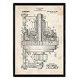 Nacnic Poster con patente de Engranajes. Lámina con diseño de patente antigua en tamaño A3 y con fondo vintage