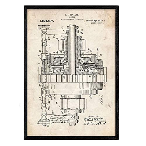 Nacnic Poster con Patente de Engranajes. Lámina con diseño