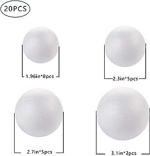 DIYASY 20pcs White Foam Balls 2-3 inch Styrofoam Polystyrene Craft Balls for Arts & Christmas Ornaments,Polystyrene Round Balls for DIY Crafting and Decoration.