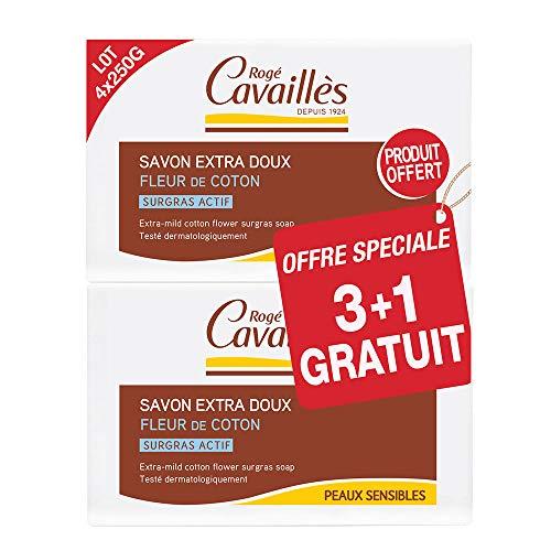 Rogé Cavaillès Savon Extra Doux Fleur de Coton Lot de 3 x 250 g + 1 Gratuit