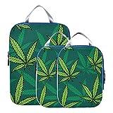 Accesorios de viaje Cannabis Hojas de marihuana Embalaje vintage Cubos organizadores de viaje Embalaje expandible Cubos organizadores de viaje para equipaje de mano, viajes (juego de 3)