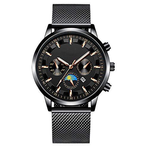 Hongxiguan heren roestvrijstalen weefsel met waterdichte ultradunne twee pinnen Half Watch Man Clock