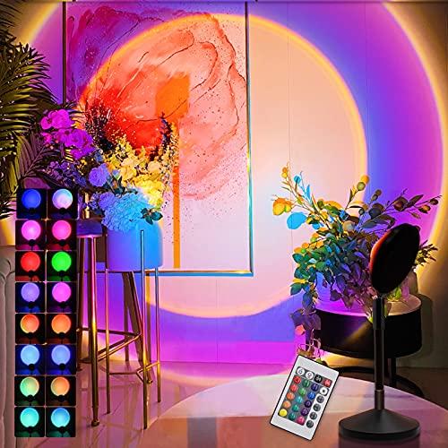 Sunset Lamp Projection, 16 Colores Brillo RGB Ajustable Lámpara de Puesta de Sol Proyector de Luz Nocturna de Arco Lris Lámpara de Luz LED Luces de Humor Giratorias de 180 ° Lámpara de Sol