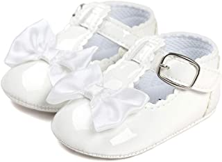 LACOFIA Baby Girls Anti-Slip First Walking Shoes Infant Bowknot Mary Jane Princess Party Shoes Prewalkers