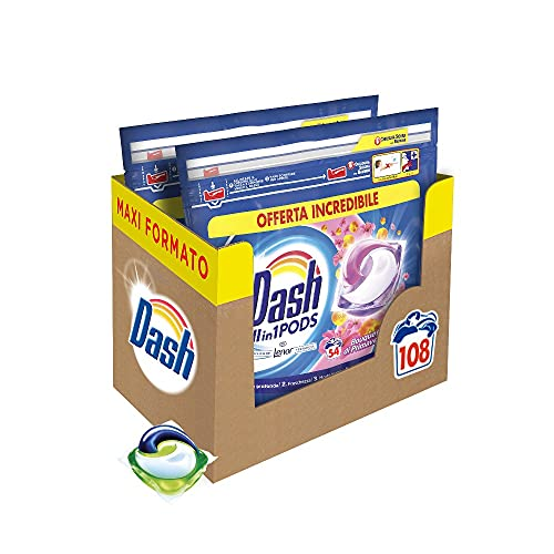 Dash All in 1 Pods Detersivo Lavatrice in Capsule, 108 Lavaggi (2 x 54), Primavera, Maxi Formato, Rimuove le Macchie, Brillantezza per Tutti i Capi
