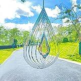 SENEMO Spinner de Viento 3D Acero Inoxidable Decoración Interior al Aire Libre Fiesta Jardín cinético Decoraciones artísticas Artesanía 3D Adornos Metal 9.8 Pulgadas Corazón 3D Colgante Wind Spinner