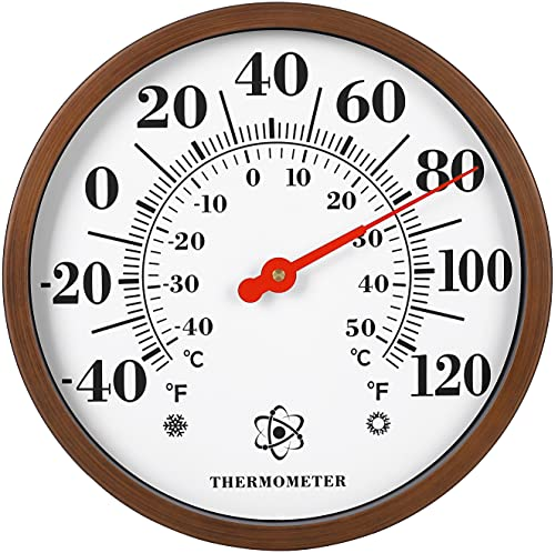 MIKSUS 12  Premium Steel Thermometer Outdoor Indoor Decorative (Updated Accuracy and Design)
