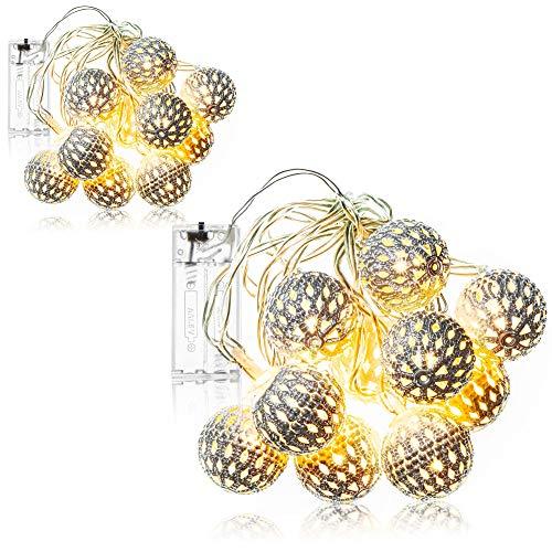 com-four® 2X LED Lichterkette mit Kugeln - Lichterkette batteriebetrieben - LED Deko für Weihnachten, Geburtstag, Hochzeit oder Party (2 Stück - Lichterkette Kugeln)