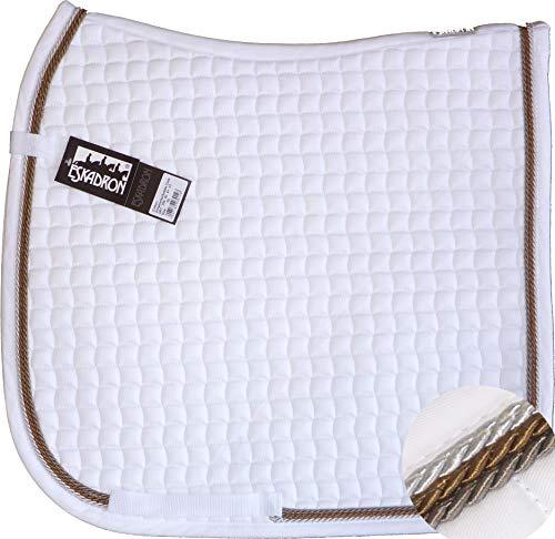 ESKADRON Cotton Schabracke weiß, 3fach Kordel silber,cognac,schlamm, Form:Vielseitigkeit