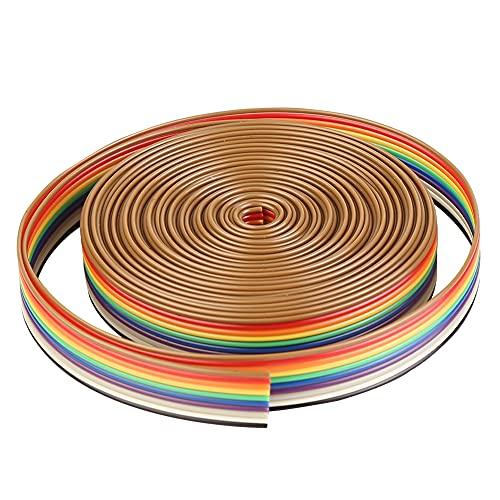 Vegena Flachbandkabel Idc Draht 10 pin 5M Flachbandkabel Regenbogen Farbe Flachband Idc Draht Kabel für Raspberry Pi Breadboard's oder Ihres Arduino's