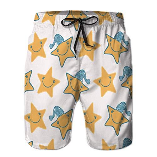 LJKHas232 134 Shorts de natación de Secado rápido para niños Shorts de Surf de Playa con Lindas Estrellas de Dibujos Animados con h M