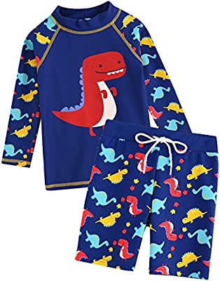 VAENAIT BABY Kids Boys Rashguard Swimsuit Long Shirt and Shorts Set Dino Pop S