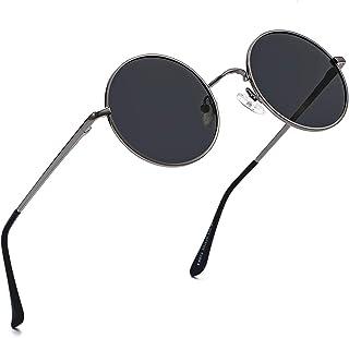 Polarized Round Sunglasses for Men Women John Lennon Style Circle Glasses Costume Eyewear 49MM (Gunmetal/Grey)