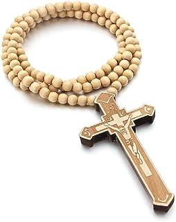 Katholisches Kreuz Halskette Holzperlen Rosenkranz religiöse Kleidung Jesus geschnitzt Anhänger Kette christlicher Gebetss...