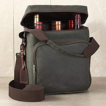 Wine Enthusiast 6-Bottle Wine Bag - Waxed Canvas Weekend Wine Carrier Forest Green