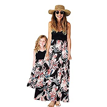 Herbeeza Mommy and me Matching Dresse Crew Neck Sleeveless Floral Printed Girls Dress Family Matching Outfits Off-White
