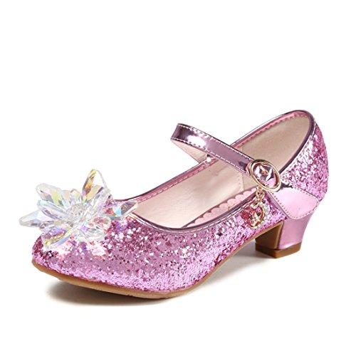 ON Prinzessin Schuhe mit Absatz Mädchen Ballerina Schuhe Pailletten Festlich für Kinder Kristall Schuhe