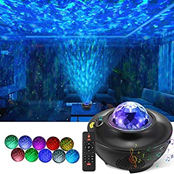 Galaxy Projector Star Projector with Remote Control Night Light Projector with Led Galaxy Ocean Wave for Kids Bedroom Party Decoration Built-in Music Speaker Voice Control Black
