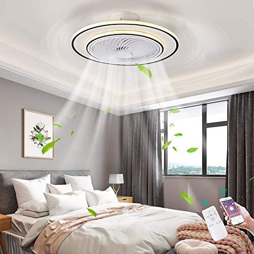 TGRBOP Ventilador De Techo Ultra Tranquilo Para Los Ventiladores De Techo De Dormitorio Luz 96W Fan Dimmable Lámpara De Techo Diseño Creativo Lámpara De Ventilador LED Con Control Remoto Lámpara De Te