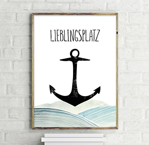 Close Up Lieblingsplatz Anker Kunstdruck, Poster 30x40cm - Premium Qualität 200g/m
