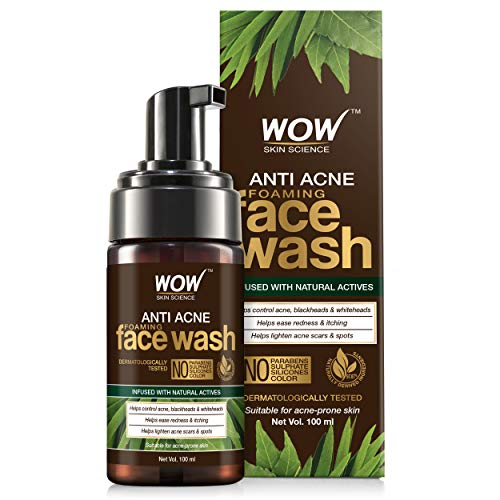 WOW Skin Science Anti Acne Foaming Face Wash – with Tea Tree Essential Oil – for Controlling Acne, Blackheads – No Parabens, Sulphate, Silicones & Color – 100mL