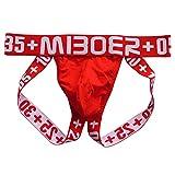HuntDream Männer aushöhlen G-String Tanga Bequeme Jockstrap Supporter rot EUR M/Größe L