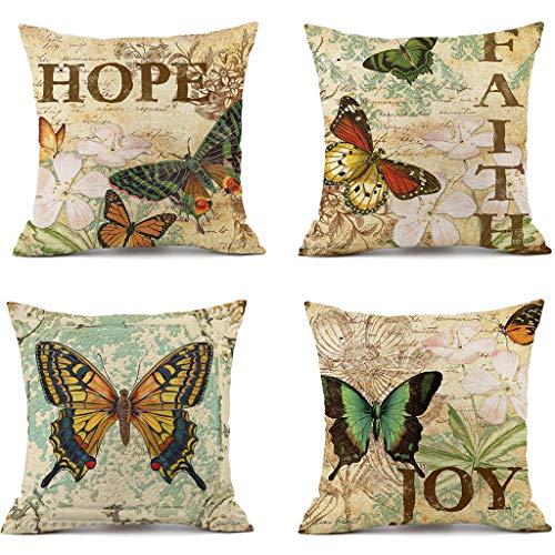 XINGYUE Juego de 4 fundas de almohada decorativas de 45,7 x 45,7 cm, de lino sintético, estilo vintage, funda de cojín para cama y sofá