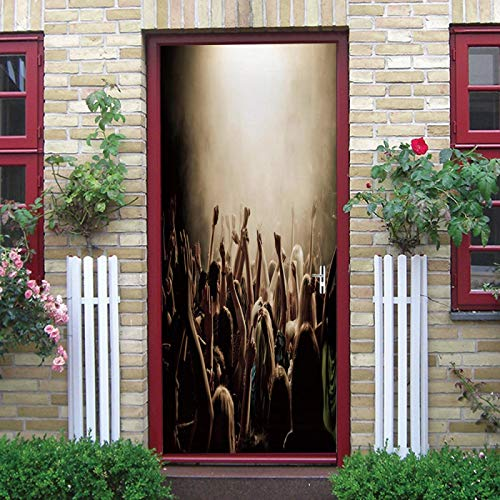 LuSeven vinilos para puertas Bar iluminación pista de baile 40x120cm(15.74 inches * 47.24 inches) Etiqueta de la pared de la puerta 3D pegatinas de puerta DIY Mural papel tapiz autoadhesivo PVC imperm