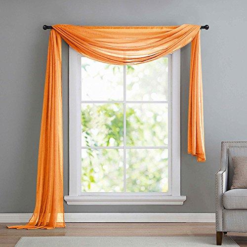 Querbehang Freihanddeko aus transparentem Voile, die ideale Ergänzung zu unseren Gardinen, 140x600, Orange, 560