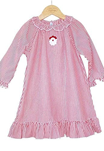 Christmas Night Gown with Santa Embroidery, Red and White Stripe, Sz 10