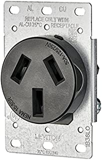 Leviton 5206-S10 50 Amp, 125/250 Volt, NEMA 10-50R, 3P, 3W, Flush Mounting Receptacle, Straight Blade, Industrial Grade, Non-Grounding, Side Wired, Steel Strap, Black,