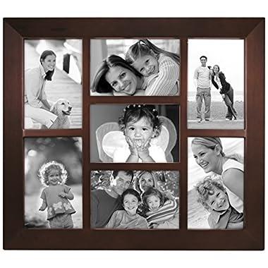 Malden International Designs Berkeley Beveled Edge Wood Collage Picture Frame, 7 Option, 7-4x6, Walnut