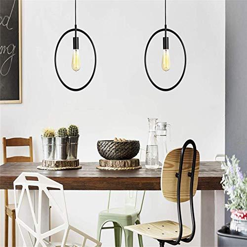 Araña de luces araña industrial de la vendimia |Suspensión de techo |Lámpara de suspensión de metal |Zócalo E27 para barra de cocina |Alt hasta 1 2 M (negro)