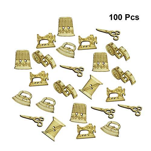 BESTOYARD 50 unids Botones de Madera Máquina de Coser Tijera Forma Botones para los sujetadores de costura Scrapbooking y DIY Craft Patrón Al Azar