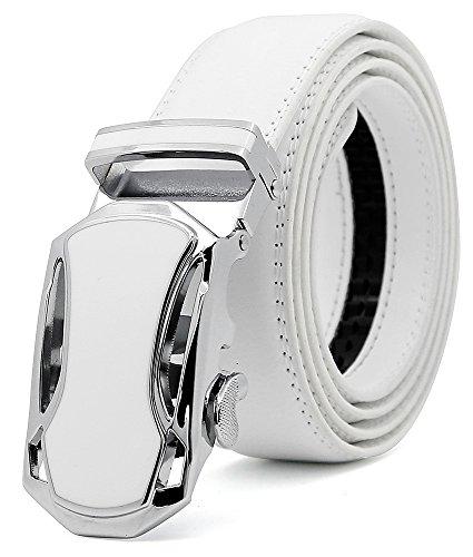 3ZHIYI ZHIYI Herren Gürtel Ratsche Automatik Gürtel für Männer 35mm Breit Ledergürtel Weiß