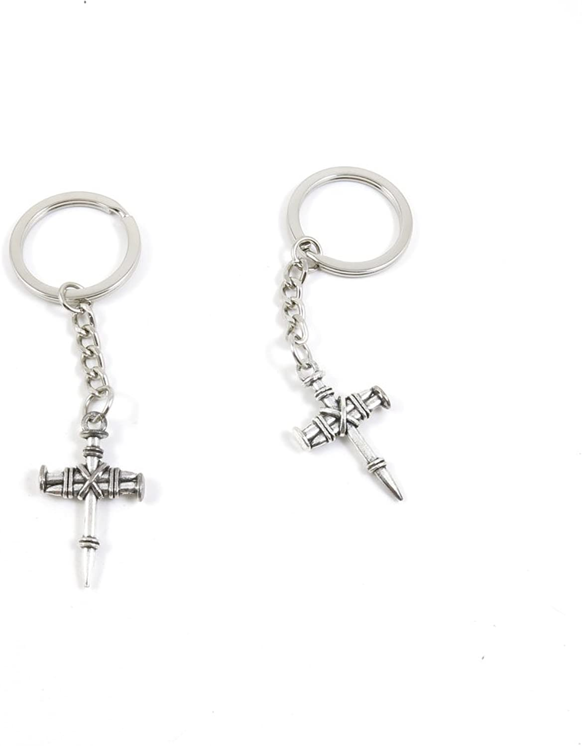 100 Pieces Keychain Keyring Door Car Key Chain Ring Tag Charms Bulk Supply Jewelry Making Clasp Findings W0JF5G Latin Cross