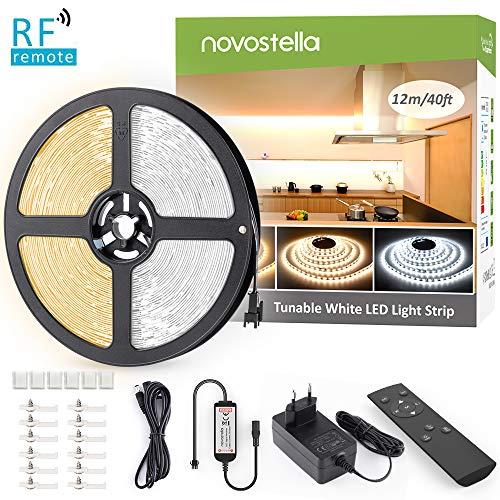 Novostella 12M LED Strip Dimmbar Warmweiß 3000K Kaltweiß 6000K, LED Streifen Set Lichtband Band Leiste mit Netzteil RF Fernbedienung 1440 LEDs 3 Modi 10 Helligkeit einfache Bedienung 24V 1,5M+2M Kabel