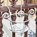 2 cestas colgantes de hierro forjado para plantas colgantes de barandilla de hierro utilizado para terraza, balcón, porche o valla, contenedor de maceta