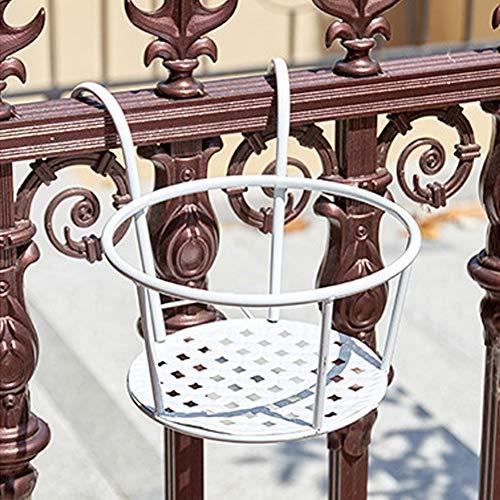 2 cestas colgantes de hierro forjado, para colgar en barandillas, macetas de hierro utilizado para terraza, balcón, porche o valla para colgar macetas