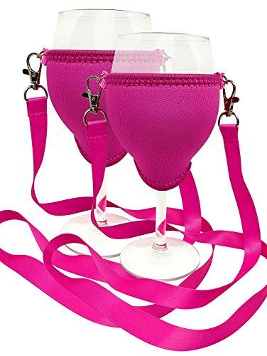 WineHolder Eff Em Concept - Weinglas-Halter für den Hals, Weinglashalterung inkl. Halstrageband (Lanyard) (Pink 2er Set)