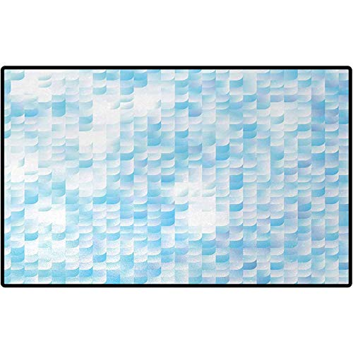 Teal Floor Mats Glisten Fish Scale with Gradients and Hotspots Sunlights Cheerful Artwork Print Runner Doormats Carpet Sets for Home Decor 72x48 Blue Purple White