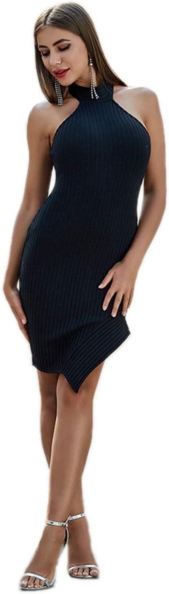YonCog Ladies Evening Dress Party Nightclub Irregular Bandage Skirt Halter High Neck Skinny Short Dress Women's Club & Night Out Dresses (Color : Black, Size : Medium)